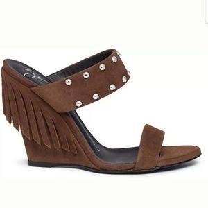 Fringed Suede Leather Wedge S 36 NWOB Studded